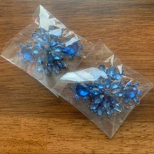 Other - Blue Fashion Rhinestones Floral Shoe Clips